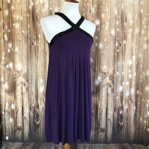 Express Purple Jeweled Neckline Trapeze Dress